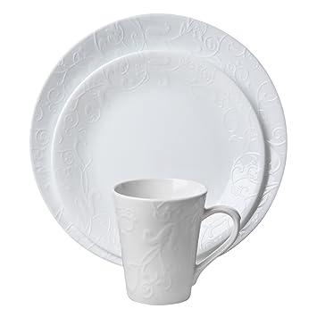 Amazon.com   Corelle Embossed Bella Faenza 16-Piece Dinnerware Set Service for 4 White Dinnerware Sets  sc 1 st  Amazon.com & Amazon.com   Corelle Embossed Bella Faenza 16-Piece Dinnerware Set ...
