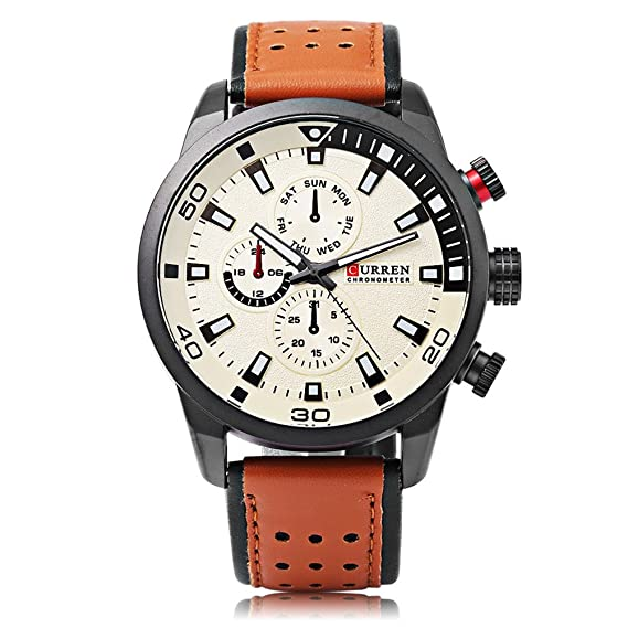 CURREN 8245 Reloj para hombre Moda Casual Business Calendario completo Relojes de pulsera Superficie creativa: Amazon.es: Relojes