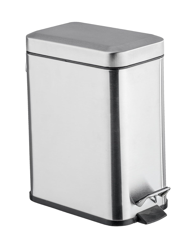Wenko Pedal Bin Matt Square, Silver, 5 Litre 22159100