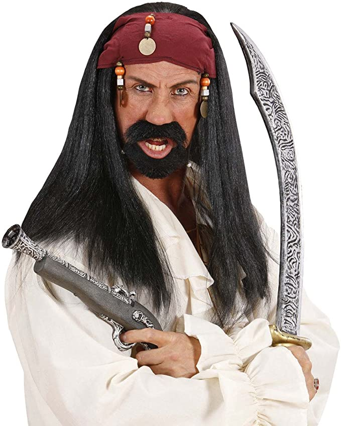 Jack Sparrow peluca pirata peluca con Bandana y perlas Piratas ...