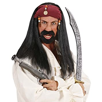 Jack Sparrow peluca pirata peluca con Bandana y perlas Piratas Fasching peluca Mar Ladrones pelo negro