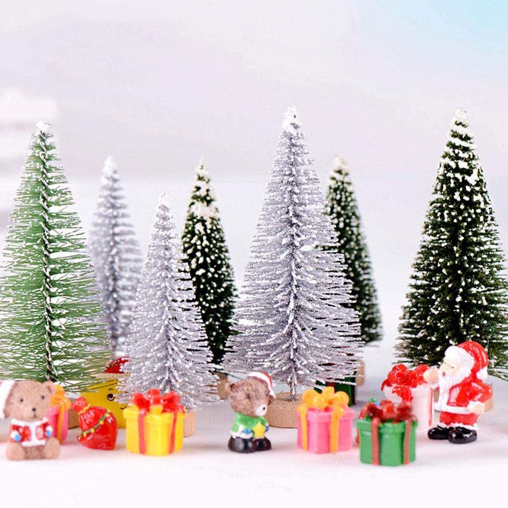 27Pcs Christmas Miniature Ornaments Kit, Artificial Mini Christmas Trees Artificial Xmas Trees Mini Resin Christmas Ornaments for Snowy Winter Fairy Garden Dollhouse Decoration