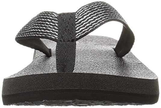 Sanuk Women's Yoga Mat Web-Bling Flip Flop, Black/Silver, 05 M US