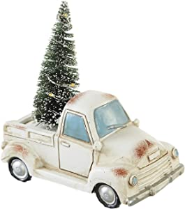 """Goose Creek Holiday Truck with LED Light Up Tree Table Decor Miniature Home Ornaments Figurine, White, 4.25"""" W x 2.25"""" D x 4"""" H"""
