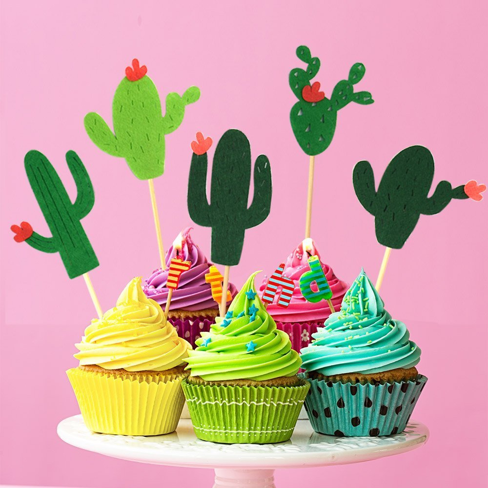 48 Pieces Cactus Cupcake Toppers Cupcake Picks and 1 Pack Cactus Banner for Fiesta West Cacti Theme Birthday Party Supplies Baby shower Decoration by Living Show (Image #3)