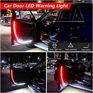 Car Door Led Strip Warning Light for Cars SUVs Doors White Lights Works As A Puddle Light Flashing Streamer Red /&White Strip Lights for Lighting Decoration and Help Reduce Rear-end Collisions
