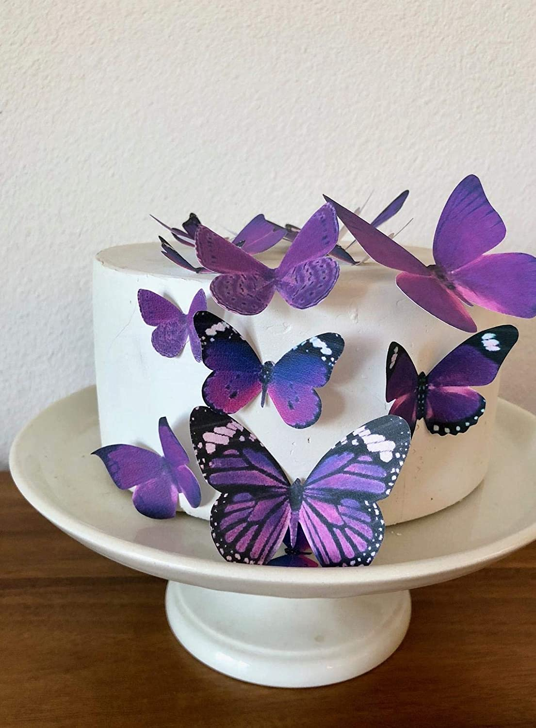12 Precut Edible Pink and Lilac Butterflies for cakes and cupcake toppers
