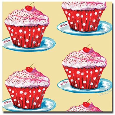 Amazon.com: Cherry Cupcakes by Wendra, 14x14-Inch Canvas Wall Art ...