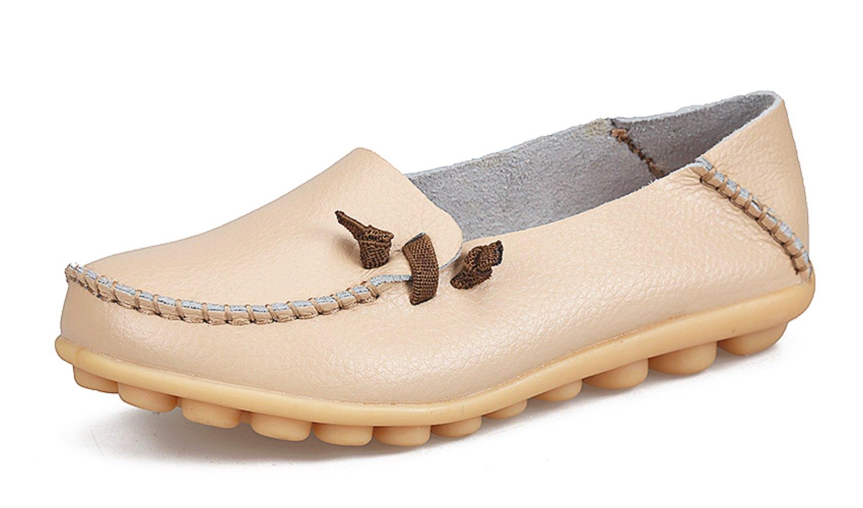 VenusCelia Women's Comfort Walking Cute Flat Loafer(9 M US,Beige)