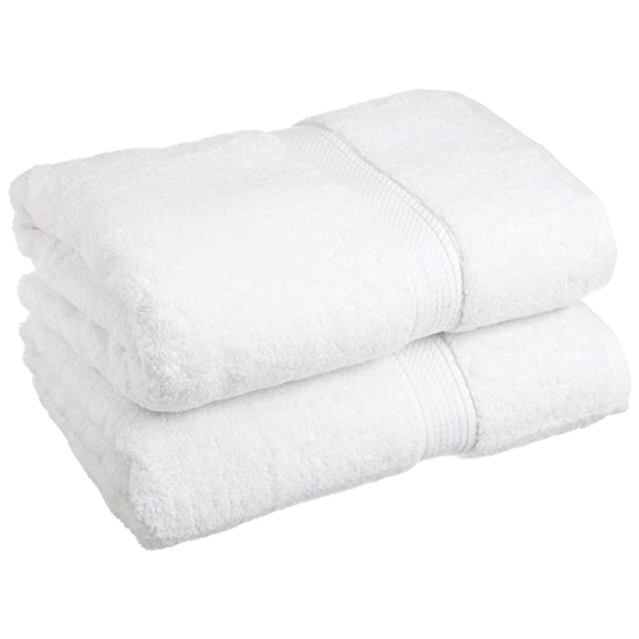 "Superior 900 GSM Luxury Bathroom Towels, Made Long-Staple Combed Cotton, Set of 2 Hotel & Spa Quality Bath Towels - White, 30"" x 55"" each"
