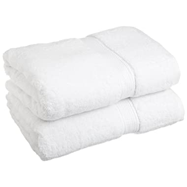 Superior 900 GSM Luxury Bathroom Towels, Made Long-Staple Combed Cotton, Set of 2 Hotel & Spa Quality Bath Towels - White, 30  x 55  Each