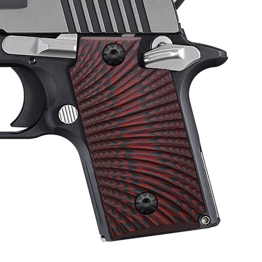 Cool Hand G10 Grips for Sig Sauer P238, Without Ambi Safety Cut, Sunburst Texture, Red/Black, Brand by Cool Hand