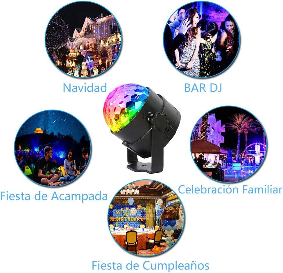 Anpro Luces Discoteca Luces de fiesta, 15 modos de luz, 4W RGB ...