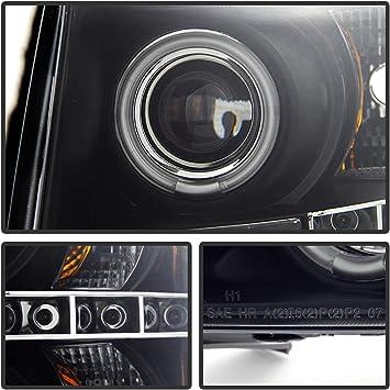 Chevy 07-13 Silverado CCFL Black Dual Halo LED Projector Headlights Lamp Set
