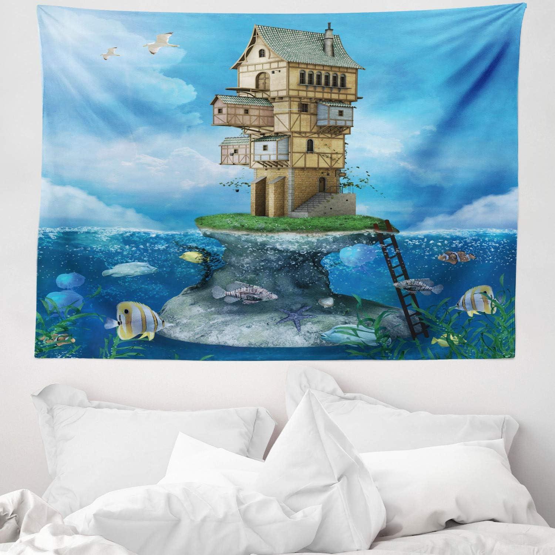 ABAKUHAUS Dibujos Animados Tapiz de Pared y Cubrecama Suave, Casa De Pescadores De Fantasia, No se Desliza de la Cama, 150 x 110 cm, Azul Marrón Verde
