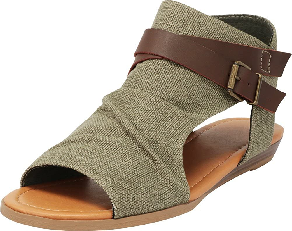Olive Cambridge Select Women's Crisscross Strappy Buckle Cutout Stacked Low Wedge Sandal