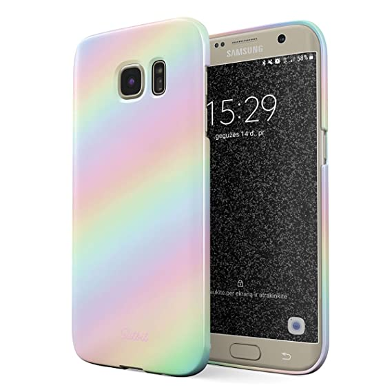 Glitbit Compatible with Samsung Galaxy S7 Edge Case Pastel Rainbow Unicorn Colors Ombre Pattern Holographic Tie Dye Pale Kawaii Aesthetic Thin Design ...