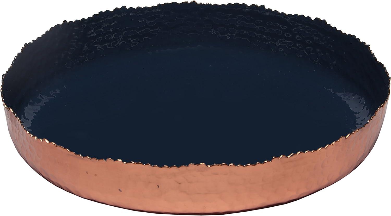 Melange Home Decor Copper Collection, 11-inch Round Platter, Color - Navy