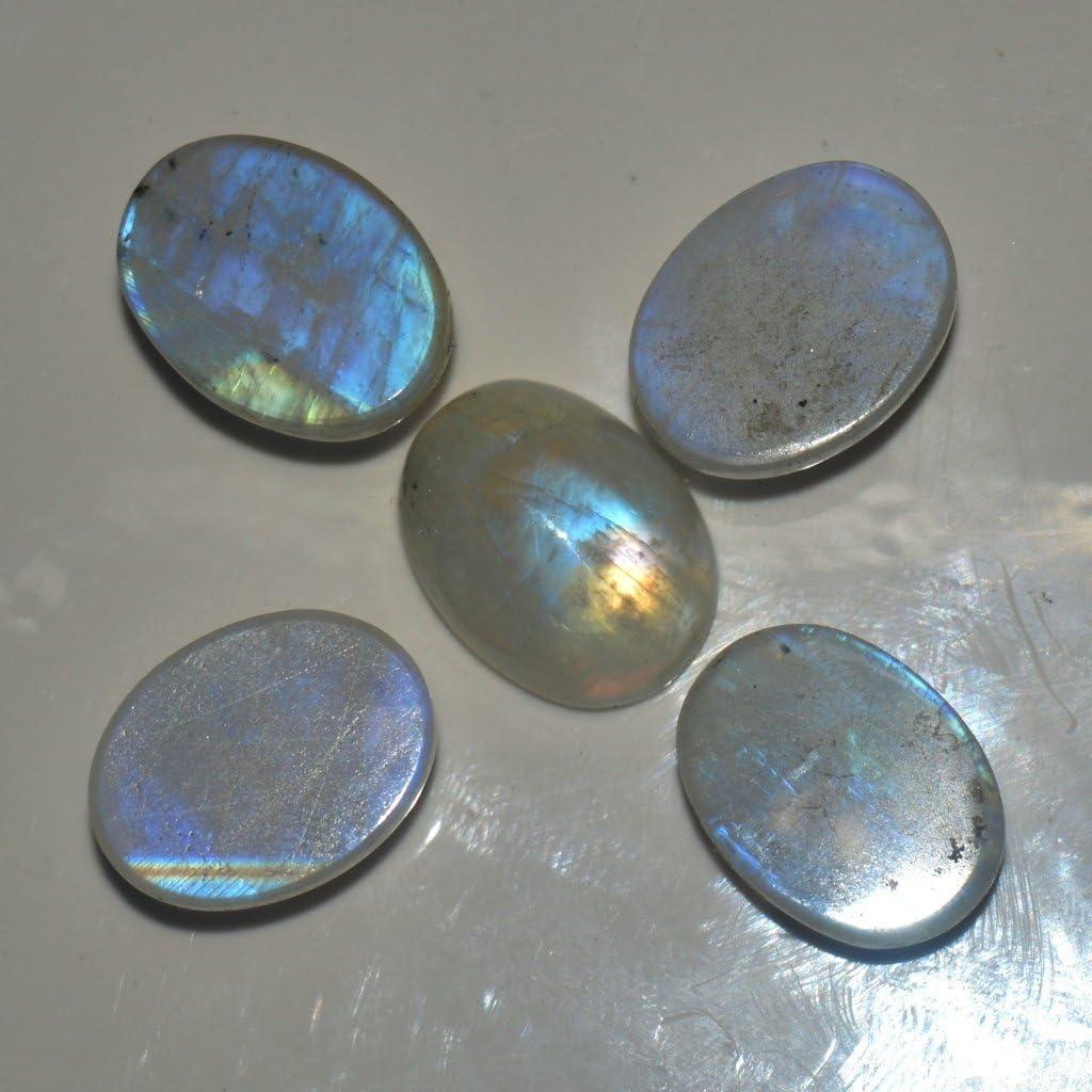 55Carat Lot de 5 cabochons ovales en pierre de lune arc-en-ciel 10 /à 60 carats