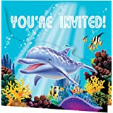 Creative Converting Ocean Party 8 Count Enhanced Party Invitations