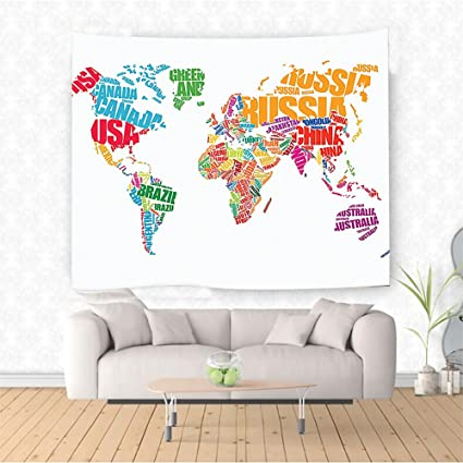 Amazon Com Nalahome Wanderlust Decor World Map Made By Names Of The