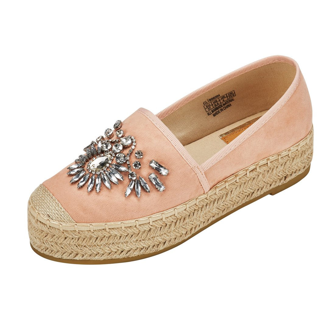 JENN ARDOR Women's Espadrille Flats Casual Sneakers Jeans Platform Slip-On Shoes with Shiny Rhinestone,9 B(M) US (25.1CM),Pink Fabric
