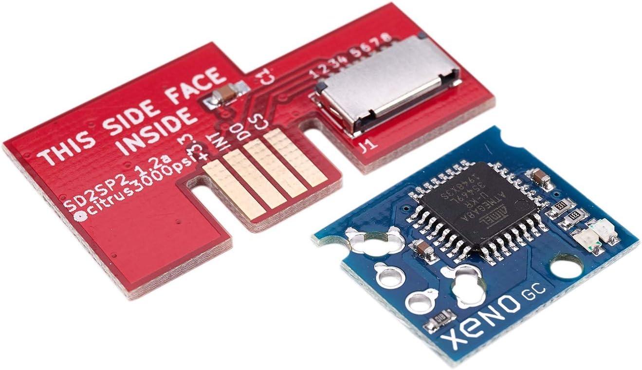 Fanuse SD2SP2 SDLoad SDL TF Adaptateur de Lecteur de Carte de Remplacement avec Puce Xeno GC Mod pour Gamecube NGC Rouge