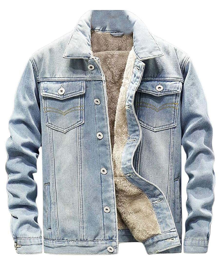 desolateness Men's Casual Denim Jacket Button Winter Down Jeans Fleece Lined Coat