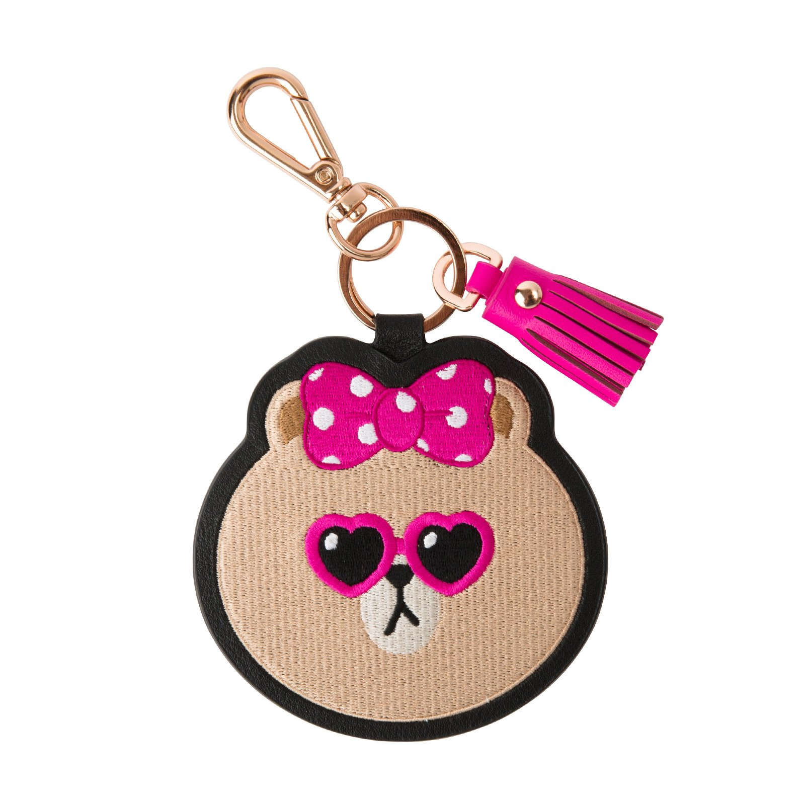 LINE FRIENDS Choco Pink Sunglasses Embroidered Key-Ring With Mirror One Size Black