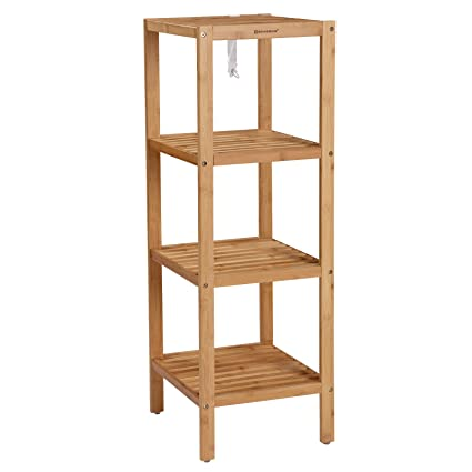 songmics 100 bamboo bathroom shelf 4 tier multifunctional storage rack shelving unit 38 5 - Bathroom Shelf Unit