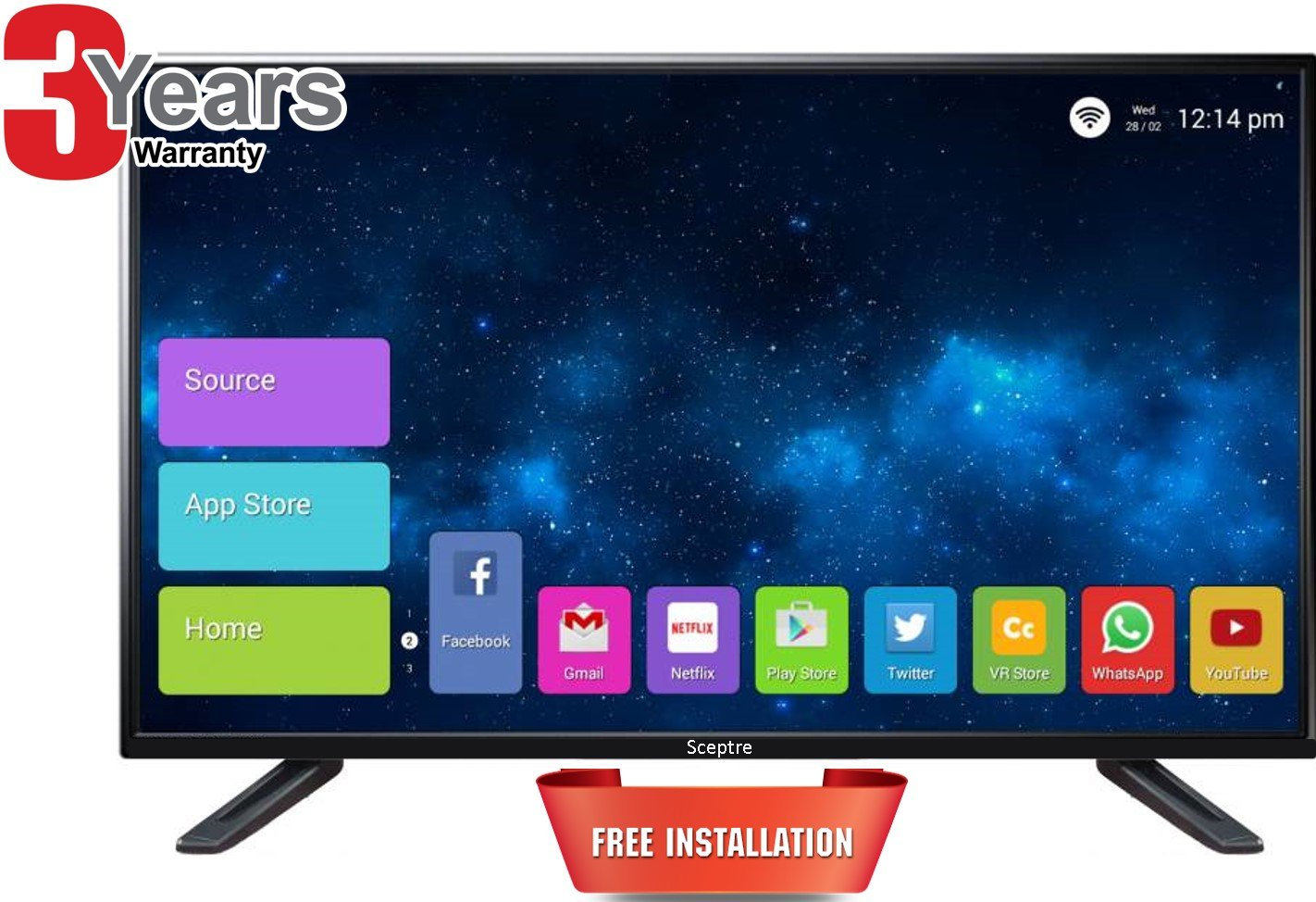 "Sceptre India 42"" Full HD- Full Smart Android LED TV with IPS SMT42FHDV: Air Mouse Keyboard"