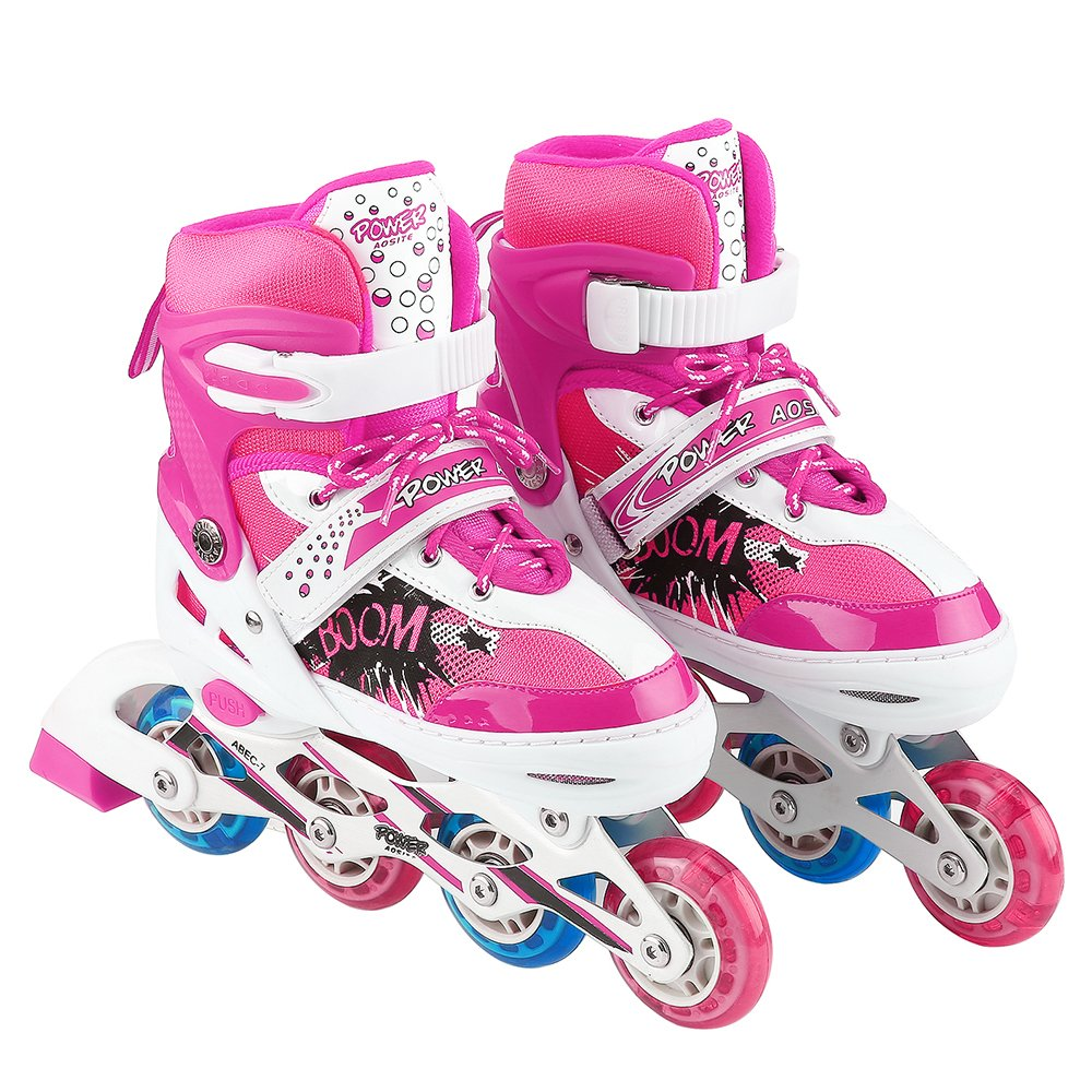 AODI Inline Skates for kids, Adjustable Featuring Illuminating Front Rear Wheels Rollerblades Safe Stable Roller Skates for Boys and Girls - Multiple Sizes and Colors