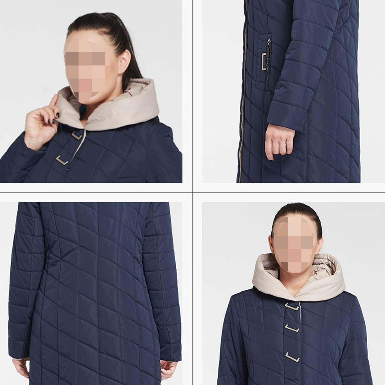 Khunria-show-outerwear New Winter Cotton Large Size Coatwarm Hooded Winter Lady Jacket Am-2674,Gray,5XL,Russian Federation