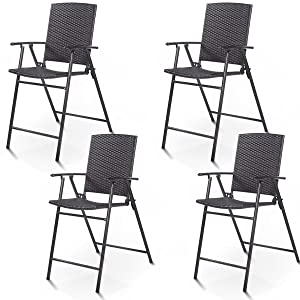 Giantex Folding Wicker Rattan Bar Chairs Tall Stool with Back Steel Frame Portable Outdoor Indoor UV Resistant Barstools Garden Patio Furniture Set w/Armrests Footrest (Set of 4 Rattan Wicker)