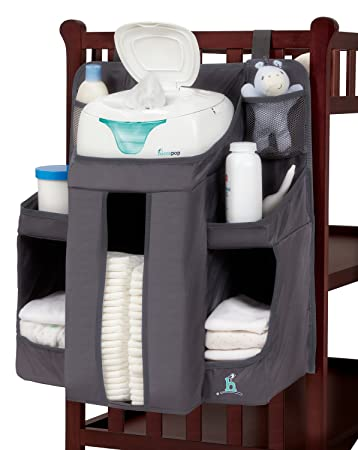 hiccapop Nursery Organizer and Baby Diaper Caddy   Hanging Diaper  Organization Storage for Baby Essentials  