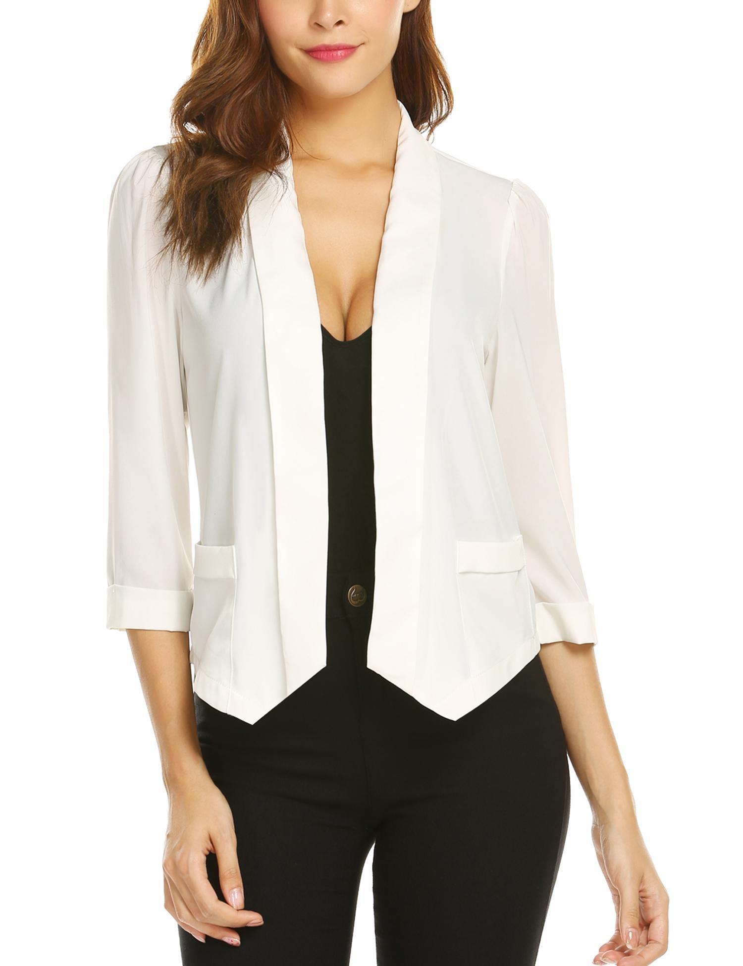 Dealwell Women 3/4 Sleeve Blazer Open Front Cardigan Jacket Work Office Blazer by Dealwell