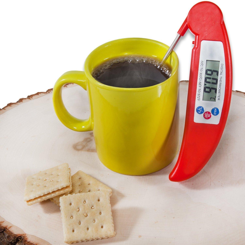 HOTSO Plegable Term/ómetro Digital de Cocina con Pincho de Acero Inoxidable Leer R/ápida Medir Temperatura de Aceite Sopa Rojo fre/ír Chocolate Term/ómetro de Bebidas Calientes
