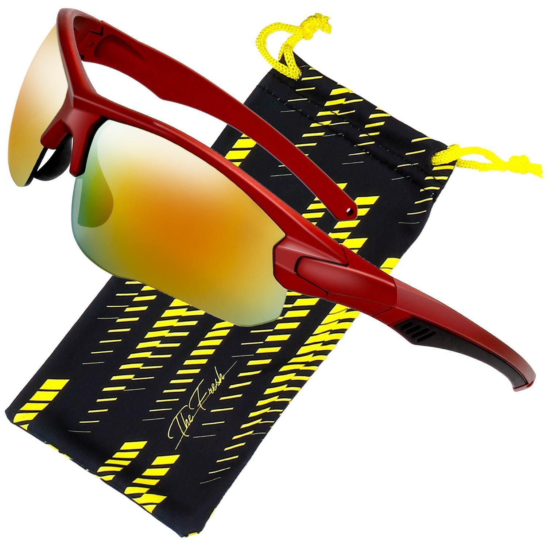 The Fresh Half Frame Sports Sunglasses for Men Women Baseball Cycling Running (1-Matte Red, Orange Red) by The Fresh