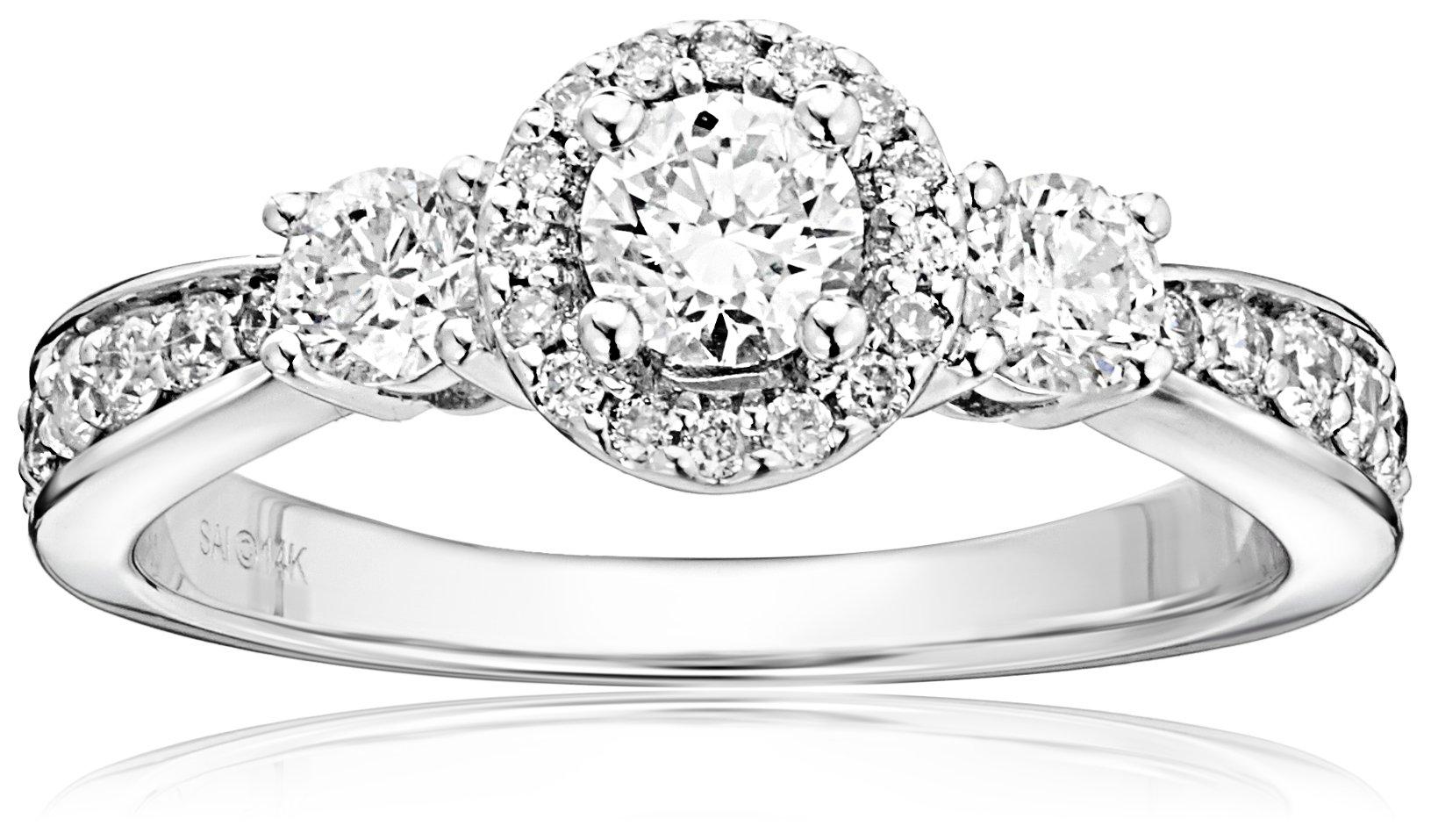14k White Gold 1 cttw Diamond Anniversary Ring, Size 6
