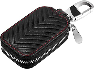 Superior Genuine Leather Auto Car Key FOB Holder Protector Cover Smart Key Chain with Metal Hook and Zipper Closure Universal no!no Car Key case Key Bag Wallet Black red Edge