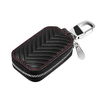 c732e4de2d4 KUMEED Car key Chain bag Black Genuine Leather Car Smart KeyChain Coin Holder  Case Cover Holder