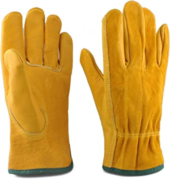 Heavy Duty Tough Canadian Leather Rigger Work Leather Gloves Garden 5 Pairs