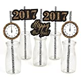 New Year's Eve - Gold Paper Straw Decor - New Years Eve Party Striped Decorative Straws - Set of 24
