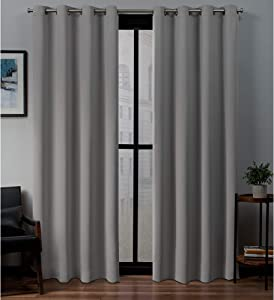 Exclusive Home Curtains Sateen Twill Woven Blackout Grommet Top Curtain Panel Pair, 52x84, Veridian Grey