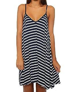 46bd04a78a Tenworld Women Striped Beach Slip Dress Loose Party Casual Sundress ...
