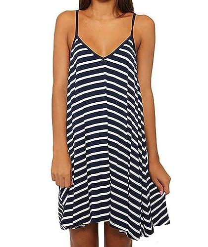Mansy Women's Summer Straipes Loose V-neck Halter Casual Dress
