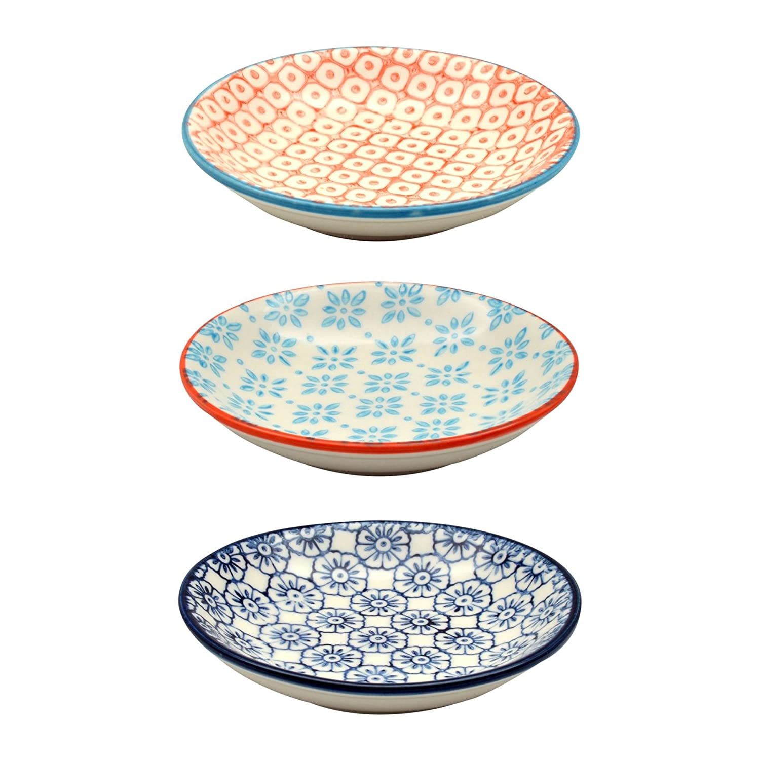 Small Patterned Rice / Soy Sauce / Olive Oil / Dipping Dish - 101mm - Set of 3 Nicola Spring