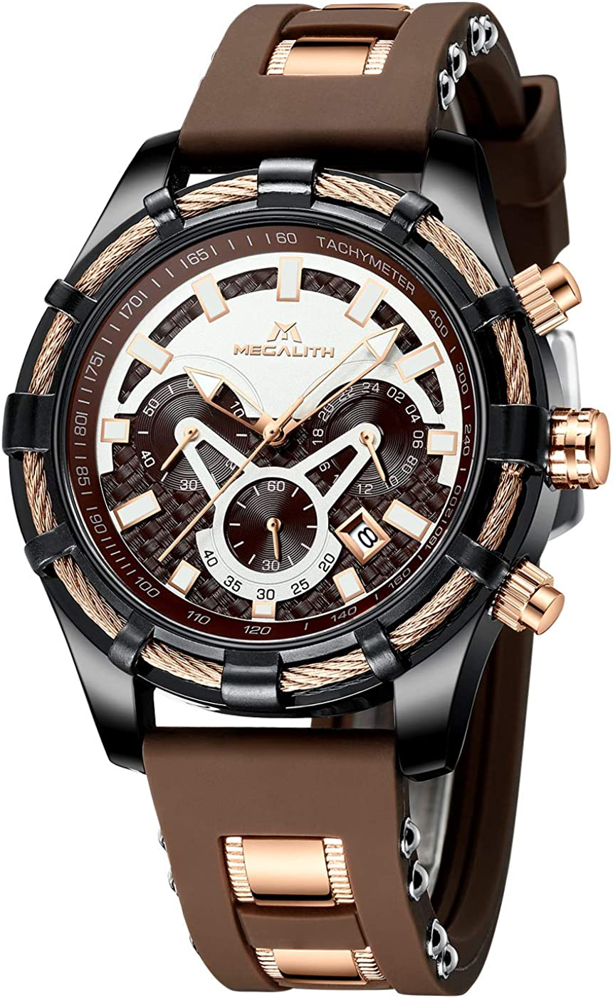 Relojes Hombre Relojes Grandes de Pulsera Militar Deportivos Cronografo Elegante Impermeable Reloj Goma Analogico Caballero Luminosos Calendario Diseño