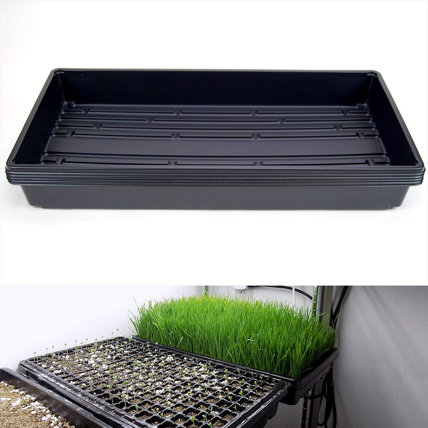 YIDIE 1020 Plant Germination Tray (No Drain Holes) -21' X 11' X 2'- 5 Pack Garden Seed Starter Grow Trays for Propagation Seed Starter, Microgreens Wheatgrass and More - Soil or Hydroponic