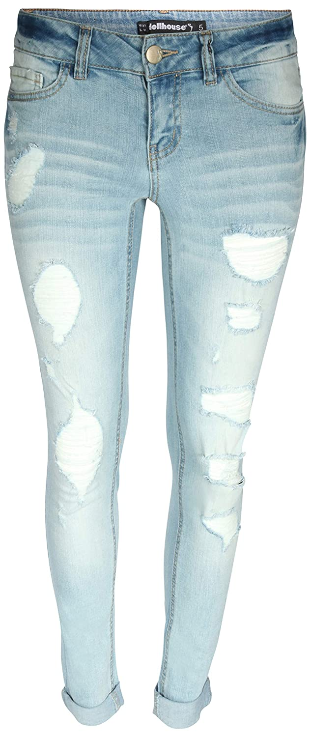 dollhouse Women's Distressed Roll Cuff Stretch Denim Skinny Jeans